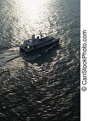 航空写真, の, ferryboat.