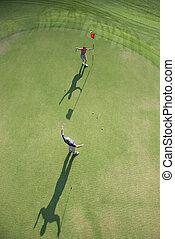 航空写真, の, golfers.