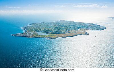 航空写真, の, inisheer, 島