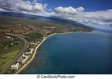 航空写真, の, maui, coast.