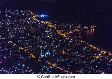 航空写真, ウルグアイ, 現場, 夜, モンテビデオ, 光景