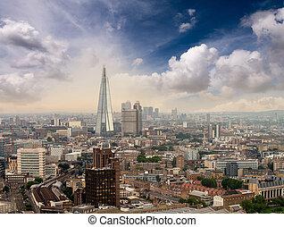 航空写真, -, スカイライン, 日没, ロンドン, 光景