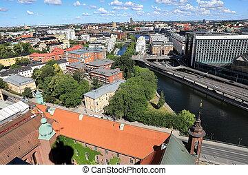 航空写真, ストックホルム, 光景, スウェーデン