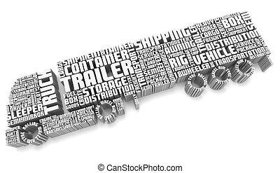 航空写真, トラック, 言葉, 3d, 形づくること, トレーラー, 光景