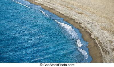航空写真, パノラマである, 波, 光景, 浜, 衝突