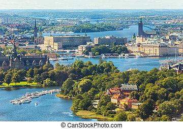 航空写真, パノラマ, の, ストックホルム, スウェーデン