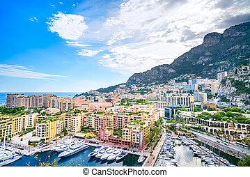 航空写真, 公国, cityscape., フランス, montecarlo, coast., モナコ, 空色, 光景