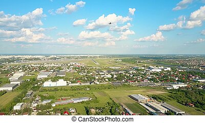 航空写真, 取得, コマーシャル, 空港, 上昇, インターナショナル, 離れて, 飛行機, 打撃