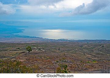 航空写真, 大きい, ハワイ, 海岸線, 島, 光景