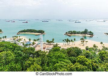 航空写真, 島, トロピカル, sentosa, 浜, 光景