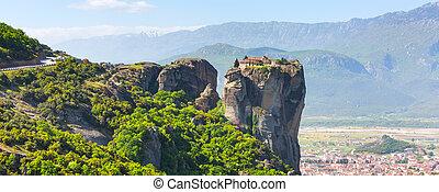 航空写真, 町, 修道院, kalambaka, meteora, ギリシャ, 光景, 崖