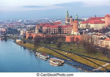 航空写真, 皇族, ポーランド, 公園, river., 歴史的, cracow, wawel, vistula, 城, 光景, sunset.