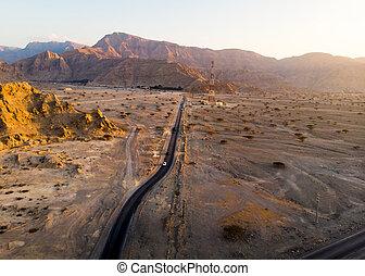 航空写真, 砂漠, 道, 光景