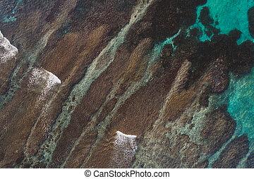 航空写真, 礁湖, 砂洲, 光景