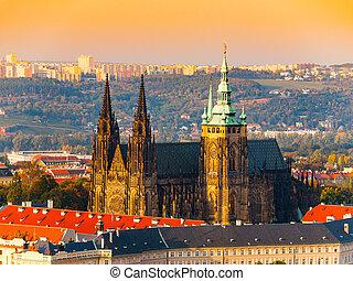 航空写真, 観察, vitus, プラハ, st., チェコ共和国, 丘, petrin, 大聖堂, 城, タワー, 光景