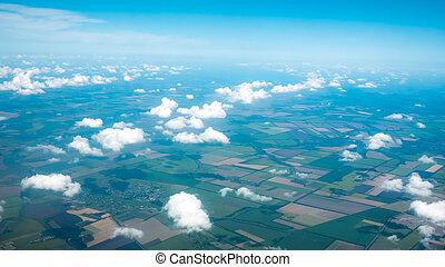 航空写真, 谷, フィールド, 飛行機, パターン, 取られる, から, 写真, 空, 村, 雲