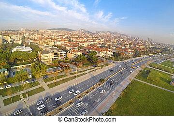 航空写真, 運転, 自然, 春, 分けられる, carriageway., 日当たりが良い, day., 交通, 二重, 自動車, ハイウェー, 典型的