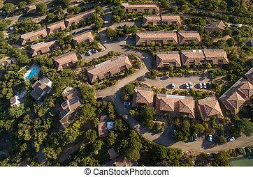 航空写真, 郊外, 光景, 近所, 豊か
