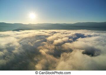 航空写真, 雲, 光景, 青, morning., 空, 白