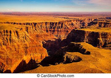 航空写真, 風景, 光景, の, グランドキャニオン, アリゾナ