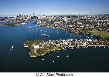 航空写真, australia., かたつむり, 湾