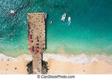 航空写真, cabo, サラソウジュ, 島, -, ポンツーン, verde, santa, 岬, マリア, 浜, 光景