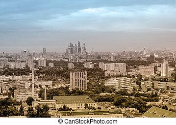 航空写真, city., 光景