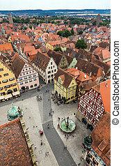 航空写真, der, rothenburg, ob, tauber, 光景