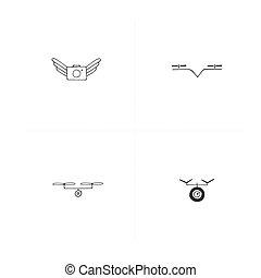 航空写真, drones., photography., セット, icons., 引かれる, 手, ベクトル, カメラ