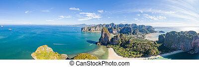 航空写真, krabi, railay, タイ, 浜, 州, 光景