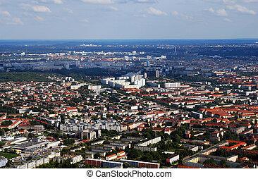 航空写真, marzahn, tegel, 高く, ベルリン, 上昇, 光景