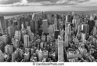 航空写真, midtown, skyscrapers., パノラマである, すばらしい, ヨーク, 新しい, city., マンハッタン, 光景