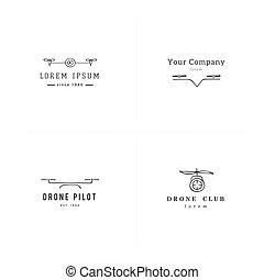 航空写真, photography., drones., セット, ロゴ, templates., 引かれる, 手, ...