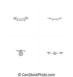 航空写真, photography., drones., セット, icons., 引かれる, 手, ベクトル, カメラ