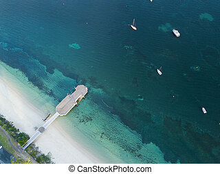 航空写真, stephens, 突堤, 湾, 浅瀬, 港, 光景