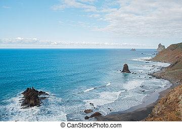 航空写真, tenerife, 海洋, 高く, 海岸線, 角度, 浜, 光景