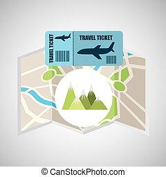 航空券, 地図, 旅行, 山, 風景