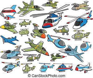 航空機, ベクトル, 交通機関, セット