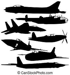 航空機, 戦闘, コレクション, 別, silhouettes.