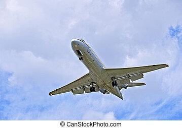 航空機, 空, 曇り, ジェット機