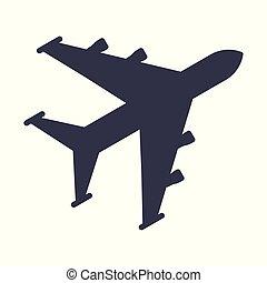 航空機, 黒, アイコン