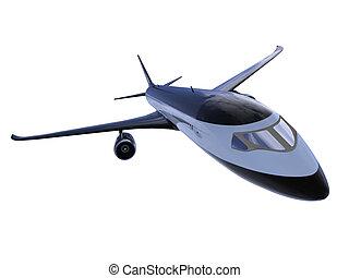 航空機, 黒, 隔離された, 光景