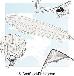 航空輸送, ベクトル, セット