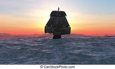航行, 以及, 傍晚