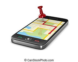 航行, 在, 電話。, 被隔离, 3d, 圖像
