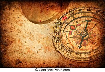 航行, 指南針, 上, grunge, 老, 紙, 結構