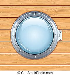 舷窗, 窗口, 上, a, 木制, ship., 矢量, 圖像