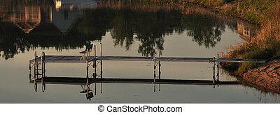 船塢, 釣魚, 平靜, 早晨