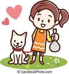船尾, 狗, 女孩, 打扫