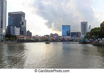 船, ∥において∥, ボート, 波止場, 中に, シンガポール